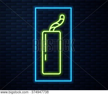 Glowing Neon Line Detonate Dynamite Bomb Stick And Timer Clock Icon Isolated On Brick Wall Backgroun