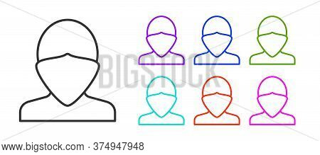Black Line Vandal Icon Isolated On White Background. Set Icons Colorful. Vector