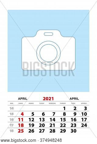 April 2021 Calendar Planner A3 Size With Place For Your Photo. Vector Planner.