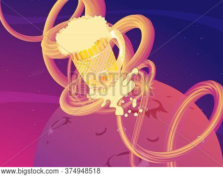 Illustration Of A Beer Mug With Rocket Burners Blasting Off To Space With Stars And Planet In The Ba
