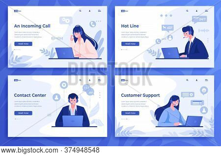 Customer Support Landing Page. Cartoon Call Center Operators And Information Service With Online Con