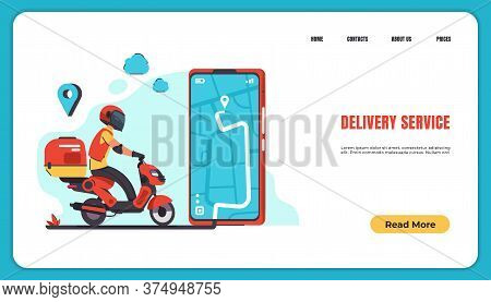 Delivery Landing Page. Food And Goods Online Order And Delivery With Courier To Home And Office. Vec