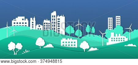 Paper Cut Eco City. Smart City Ecosystem Sustainable By Green Energy, Environmental Protection And R