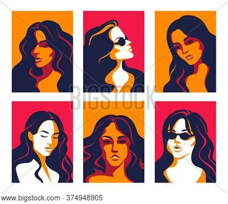 Women Portrait. Trendy Flat Posters Of Multicultural Diverse Faces, Minimalistic Pop Art Elements. V