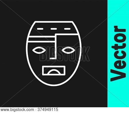 White Line Mexican Mayan Or Aztec Mask Icon Isolated On Black Background. Vector