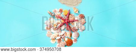 Red Starfish Against The Background Of Seashells. Summer Time Or Hello Summer. Creative Copy Space