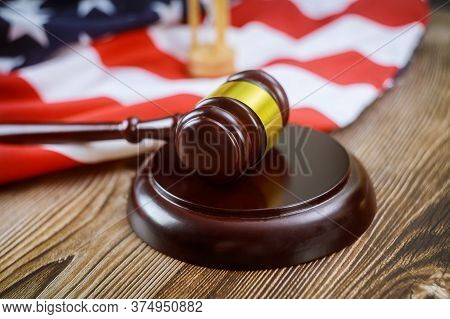 Usa Lawyers In The Us Legal Office With Sandglass Judges Gavel On American Flag Wooden Table