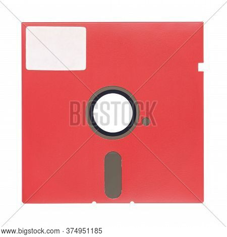 Red 5.25-inch Floppy Disk Or Diskette Isolated On White Background