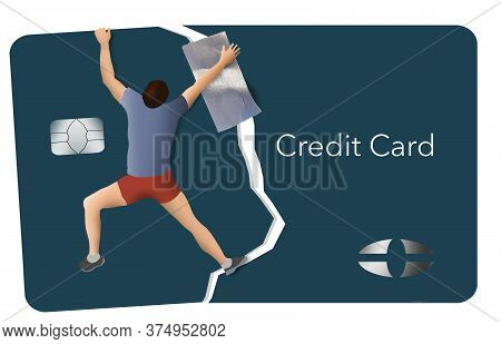 A Man Uses Duct Tape As He Tries To Repair His Credit By Taping Together A Broken Credit Card.