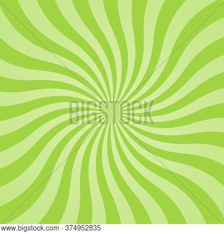 Sun Rays Background. Green Radiate Sun Beam Burst Effect. Sunbeam Light Flash Boom. Template Starbur