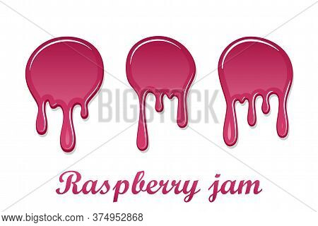 Raspberry Drip Jam 3d Set. Sweet Raspberries Splash Isolated White Background. Fruit Strawberry Cand
