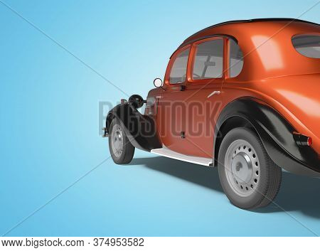 3d Rendering Of Classic Red Passenger Car On Blue Background With Shadow Back View