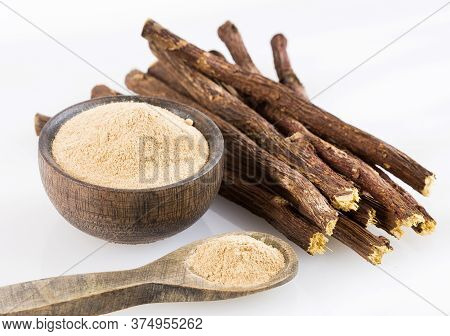 Stems And Licorice Powder - Glycyrrhiza Glabra. Licorice Root Has Medicinal Properties For The Liver