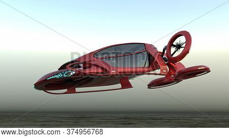 Transport Of The Future. The Red Car Is Flying Above The Ground, Against The Background Of A Foggy H