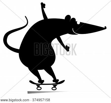Cartoon Rat Or Mouse A Skateboarder Isolated Illustration. Cartoon Rat Or Mouse Rides On The Skatebo