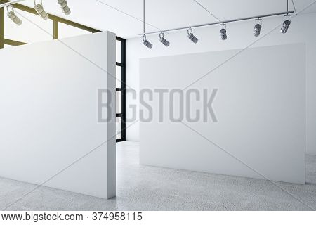 Minimalistic Gallery Interior With City View And Blank Wall. Gallery, Advertisement, Presentation Co