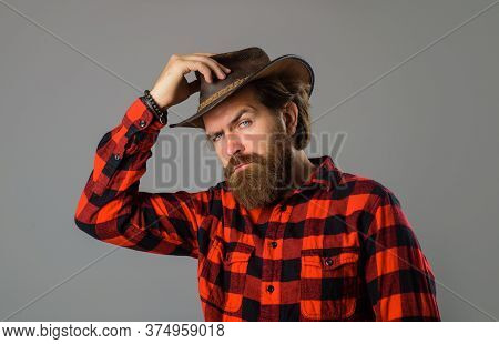 Handsome Bearded Cowboy. Handsome Bearded Macho. American Cowboy. Cowboy Wearing Hat. Western Life.