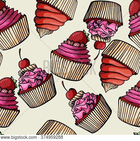 Muffin Seamless Pattern Simple Illustration . Cupcake Collection With Different Flavors . Colored Ha