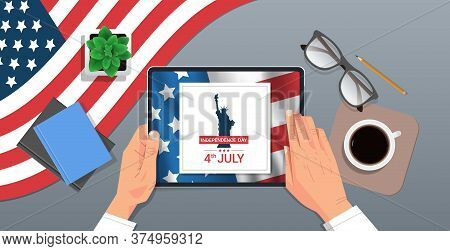 Hands Using Tablet With Liberty Statue On Screen 4th Of July American Independence Day Celebration C