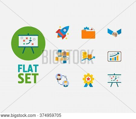 Technology Collaboration Icons Set. Technical Strategy And Technology Collaboration Icons With Partn