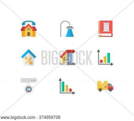 Real Estate Icons Set. Progress Down And Real Estate Icons With Move, Home Loan And Real Estate. Set