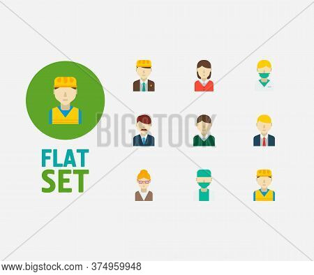 Occupation Icons Set. Office Boss And Occupation Icons With Manager, Female Worker And Construction
