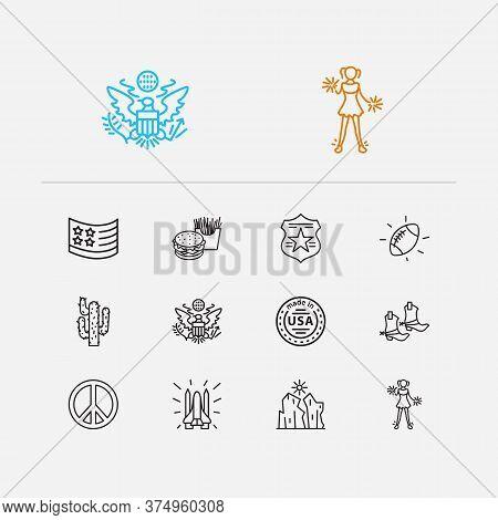 Usa Icons Set. Usa Flag And Usa Icons With American Football, Police Badge And Made In Usa. Set Of W