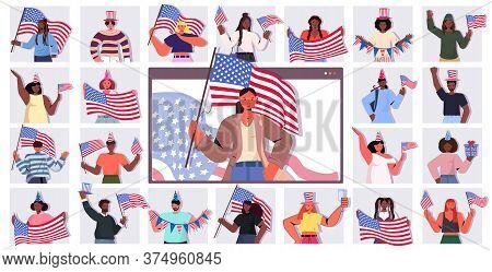Set Mix Race People Holding Usa Flags Celebrating 4th Of July Independence Day Concept Men Women In