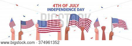 Mix Race Human Hands Holding Usa Flags People Celebrating 4th Of July American Independence Day Conc