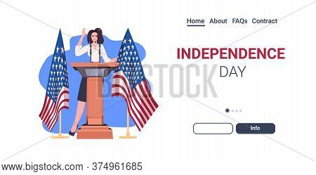 Female Politician Making Speech From Tribune With Usa Flag 4th Of July American Independence Day Cel