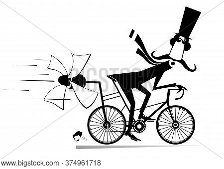 Long Mustache Man In The Top Hat Rides On The Bicycle Illustration. Cartoon Mustache Man In The Top