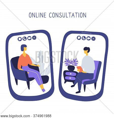 Doctor And Patient Communicate By Video Call. Online Psychiatrist Concept. Two People On Screens Of
