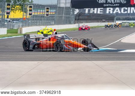 July 04, 2020 - Indianapolis, Indiana, USA: JAMES HINCHCLIFFE (29) of Toronto, Canada  races through the turns during the  race for the GMR Grand Prix at Indianapolis Motor Speedway