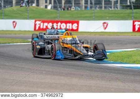 July 04, 2020 - Indianapolis, Indiana, USA: OLIVER ASKEW (7) of the United States  races through the turns during the  race for the GMR Grand Prix at Indianapolis Motor Speedway