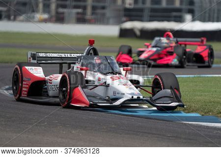 July 04, 2020 - Indianapolis, Indiana, USA: MARCO Andretti (98) of the United States  races through the turns during the  race for the GMR Grand Prix at Indianapolis Motor Speedway
