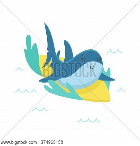 Cute Shark Riding Ocean Waves On Surf Board. Funny Character Summertime Recreation, Sport Isolated O