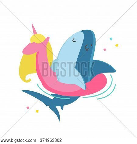 Cute Shark Floating Unicorn Inflatable Ring Character Isolated On White Background. Summer Vacation