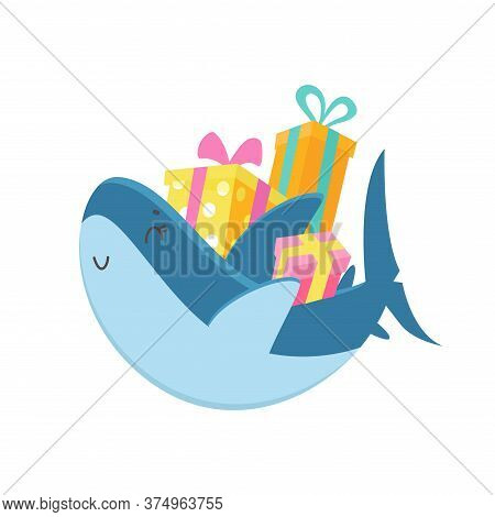 Cute Shark Carry Pile Wrapped Gift Boxes. Baby Shower, Xmas Celebration Isolated On White Background