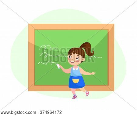 Back To School, Education Or Knowledge Concept. Little Girl Writing On Blackboard. Kid Character Stu