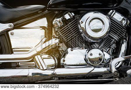 Motorcycle Engine Closeup Background. Chromium Details Of  Motorbike.
