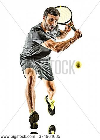 one caucasian mature tennis player man backhand silhouette full length in studio isolated on white background