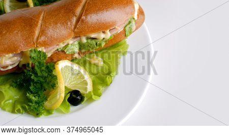 Sandwich. Morning sandwich with lemon