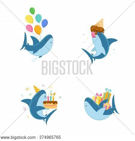 Set Cute Shark Character With Balloon, Eating Ice Cream, Blow Candles On Cake And Carry Gifts Isolat