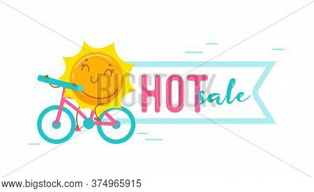 Hot Summer Sale Banner With Kawaii Sun Personage Riding Bicycle Isolated On White Background. Cute C