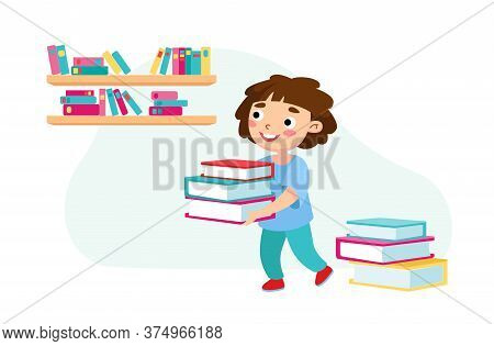 Little Baby Carry Pile Of Books, Kid Character Studying, Visiting College Or Preschool For Learning.
