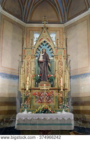 DESINIC, CROATIA - OCTOBER 18, 2013: Altar of St. Anthony of Padua in the parish church of Saint George in Desinic, Croatia
