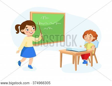 Primary Education, Back To School Concept. Little Schoolboy Character Sitting At Desk Rising Hand To