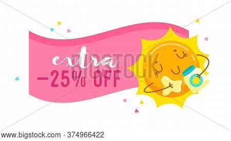 Extra Sale Banner With Cute Cartoon Sun Applying Cream For Tan. Kawaii Personage Take Sunbath On Sum