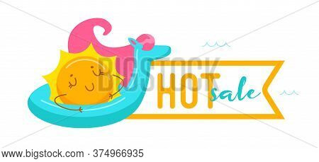 Hot Sale Banner With Kawaii Sun Character Floating On Inflatable Unicorn Mattress. Cute Cartoon Pers