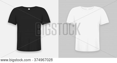 T-shirt Realistic Mockup In White And Black Color. 3d Template Of Tee Shirts Set With Short Sleeve.